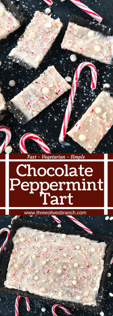 A simple Christmas baking recipe ready in 30 minutes. Chocolate Peppermint Tart is a soft cocoa shell filled with a peppermint cream cheese filling and topped with crushed candy canes and white chocolate. Fast and easy vegetarian holiday recipe. #chocolatepeppermint #christmasdessert #peppermintrecipes