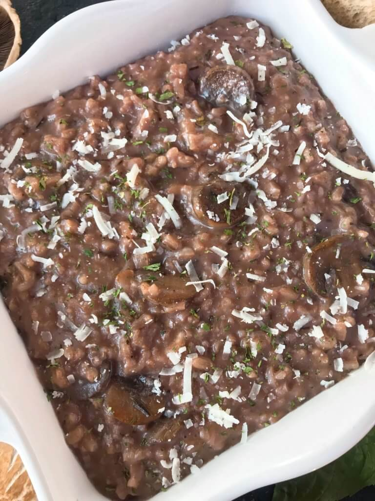 An Italian comfort food recipe. Mushroom Red Wine Risotto with Parmesan Cheese is vegetarian and gluten free (gf) but also great with chicken, steak, or sausage. Arborio rice, red wine, mushroom, Parmesan, and rosemary. #italianrecipes #risotto #comfortfood