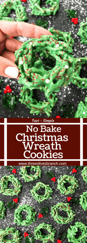 These No Bake Christmas Wreath Cookies are ready in just 30 minutes. Green candy melts and mixed with chow mein noodles and topped with sprinkles for a fast and easy Christmas cookie. #christmascookies #nobakecookies