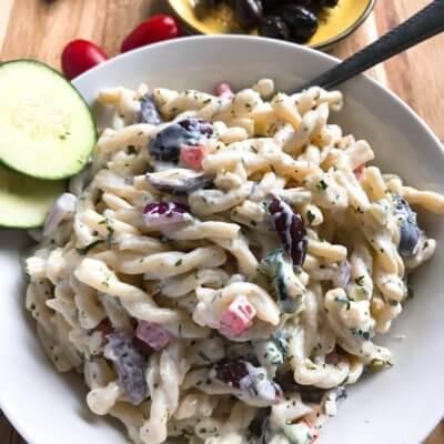 Creamy Greek Tzatziki Pasta Salad