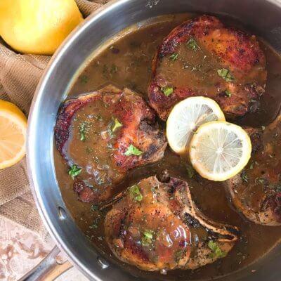 Skillet Pork Chops in Mustard Apple Cider Sauce