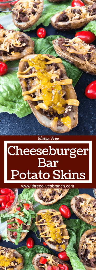 Cheeseburger Potato Skin Bar is a fun game day or party entertaining finger food recipe. Let guests build their own favorite American cheeseburger flavor with all the toppings. Gluten free. #potatoskins #cheeseburger #hamburger