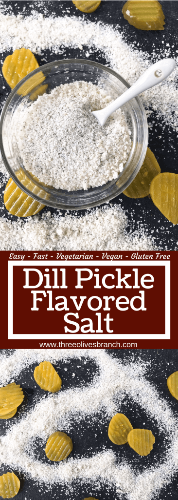 Dill Pickle Flavored Salt is a quick and easy seasoning for grilling and BBQ. Vegan, vegetarian, gluten free, and dairy free recipe. Good on chicken, pork, vegetables, and more. #flavoredsalt #seasoningsalt #pickles