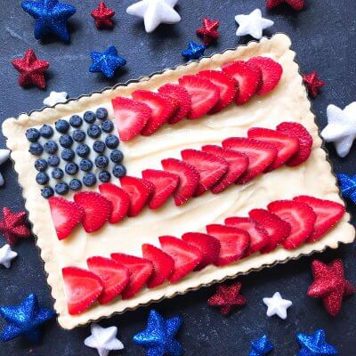Patriotic American Flag Fruit Tart