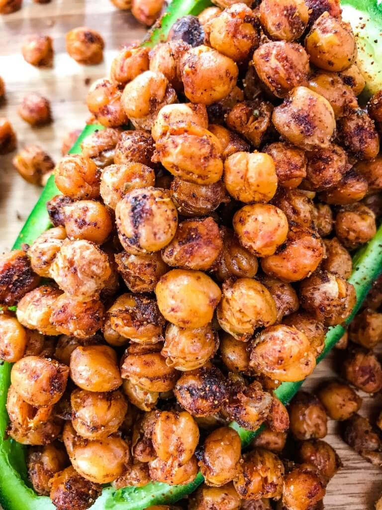 Taco Roasted Chickpeas are a healthy and simple snack recipe! Great for game day and entertaining appetizer, garbanzo beans are roasted and tossed with Mexican spices of chili powder, cumin, and cayenne. Vegan, vegetarian, gluten free, dairy free. #roastedchickpeas #healthysnack