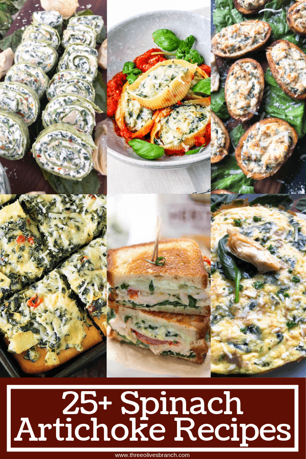 A roundup with over 25 Spinach Artichoke Recipes featuring the flavors of spinach and artichokes. No dips, just creative recipes for breakfast, appetizers, and dinner. #spinachartichoke