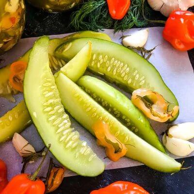 Homemade Habanero Garlic Pickles