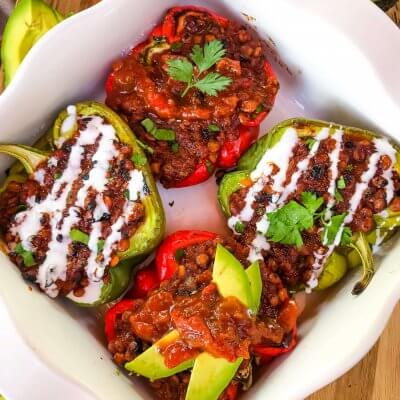 Vegan Lentil Taco Stuffed Peppers