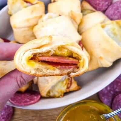 Cheesy Mustard Salami Crescent Rolls