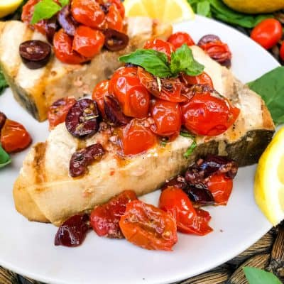 Grilled Swordfish Steaks with Tomato Olive Relish