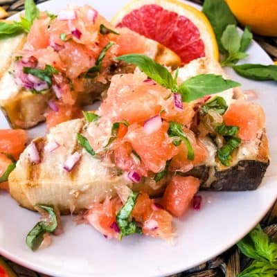 Basil Grapefruit Grilled Swordfish Steaks