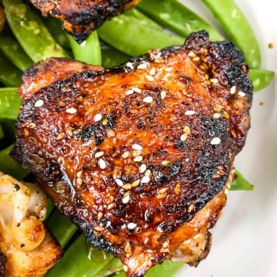 Sesame Soy Glazed Grilled Chicken Thighs