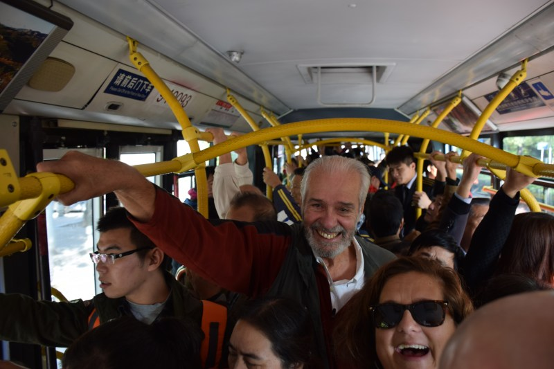 Riding the bus was an adventure to say the least - for only 10 Yuan (about $1. 60) 5 adults and Li Li got to experience a classic part of Beijing life and get shouted out at with equanimity by the three bus staff.