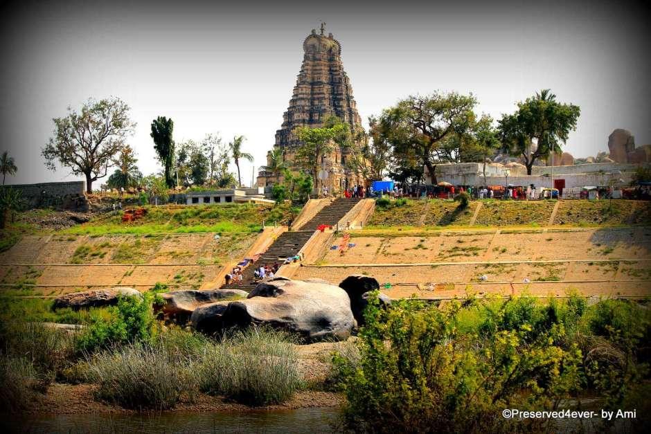 Virupaksha temple from across the Tungabhadra river