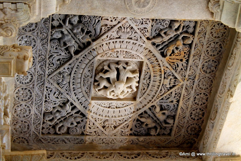 Ceiling with a sculpture of many bodies and one head, Ranakpur Jain temple
