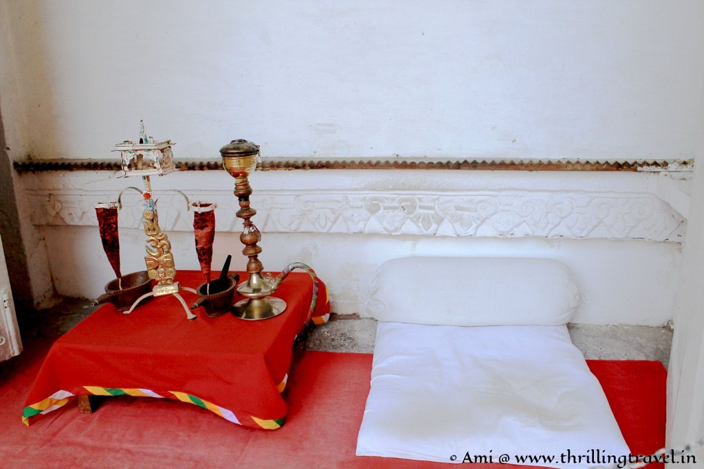 Set up for the Opium ceremony at Mehrangarh Fort
