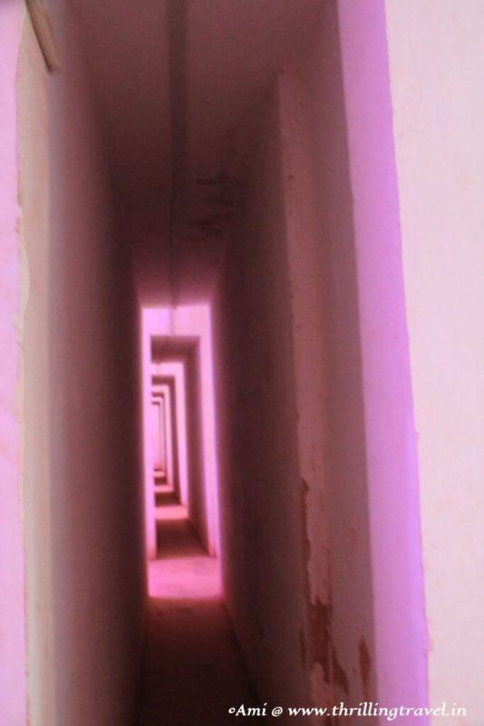 The narrow passages on the first floor of Santana Church, Goa