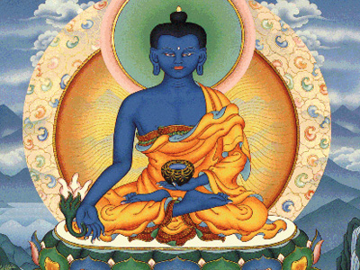 Thangka image of Medicine Buddha.