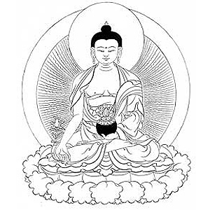 Image of Medicine Buddha in black n white.