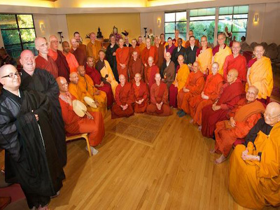 Group photo of sangha in theravada bhikshuni ordination in sravasti abbbey.