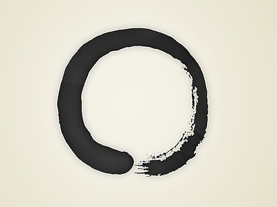 A painted enso symbol.