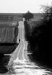 Person walking down a long country road.