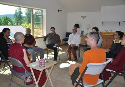 Venerable Chodron in discussion with a group of young adults
