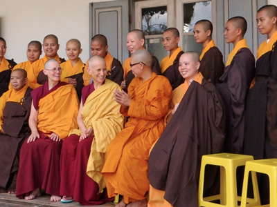 A group of Buddhist nuns from various traditions.