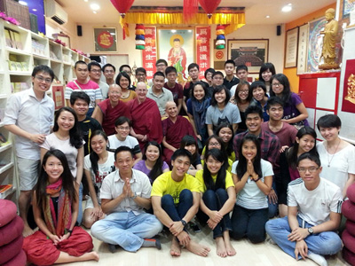 Venerable Chodron, Venerable Jigme and VenerableDamcho with a group of Buddhist Youth.