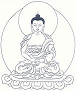 Amitabha Buddha, with both hands in meditative equipoise on his lap.