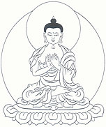 Vairocana Buddha, with both hands at the heart, the index fingers extended.