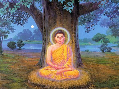 The Buddha meditating under the Bodhi Tree.