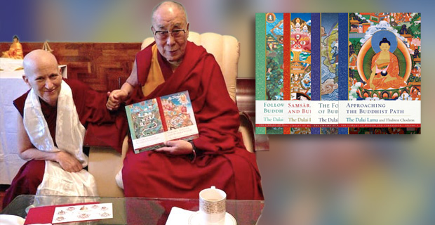 Venerable sitting next to His Holiness the Dalai Lama. His Holiness is hold two copies of the Library of Wisdom and Compassion.