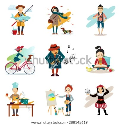 Active Lifestyle Hobbies Healthy Lifestyle Icons Stock ...