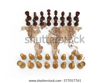 Symbol Geopolitics Chess Board Out Dry Stock Photo  Download Now     symbol of geopolitics  chess board out of a dry world map with chess play