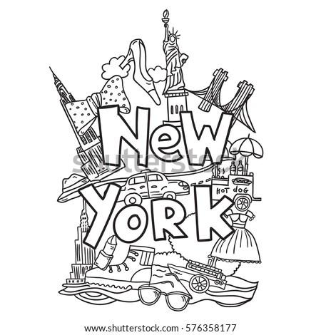 R Hand Drawn Vector Illustration With Symbols Of New York City