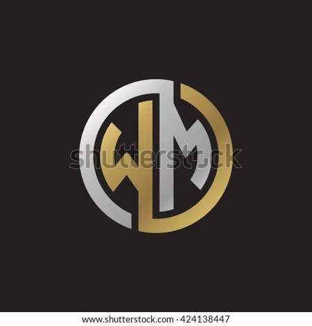 WM Initial Letters Looping Linked Circle Stock Vector  Royalty Free     WM initial letters looping linked circle elegant logo golden silver black  background