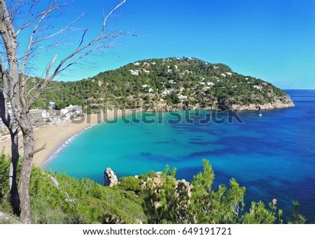 Beautiful Beach On Ibiza Island Spain Stock Photo  Royalty Free     Beautiful beach on Ibiza Island  Spain  No people  idyllic lonely beach in  summer