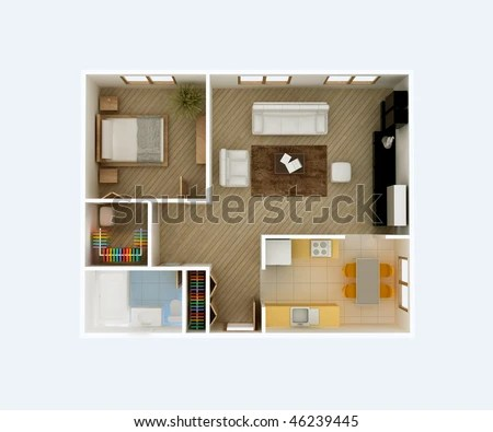 3 D Floor Plan Top View Apartment Stock Illustration 46239445     3D floor plan top view  Apartment interior aerial  Kitchen  Dining  Living  Room