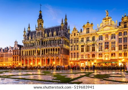 Brussels Belgium Wide Angle Night Scene Stock Photo  Royalty Free     Brussels  Belgium  Wide angle night scene of the Grand Place and Maison du  Roi