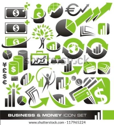 Business Money Finance Icons Logos Symbols Stock Vector 117965224 - Shutterstock