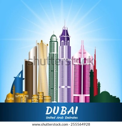 Colorful City Dubai UAE Famous Buildings Stock Vector 255564928 - Shutterstock