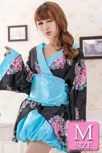 【パンキュート PANCUTE】花柄超ミニ着物ワンピース DS479-BK 浴衣 セクシー コスプレ 衣装