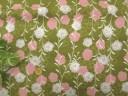 【綿生地 和柄布地】花柄 柳撫子 ウグイス色撫松庵生地30cm以上10cm単位販売 205B6