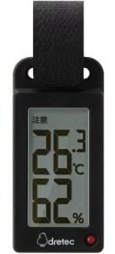 【メール便可】 ドリテック 持ち運べるポータブル温湿度計 熱中症の危険度の目安をアラーム音とランプでお知らせ 熱中症計 O-289BK