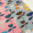 綿麻キャンバス 北欧風フラワープリント 生地 布 花柄