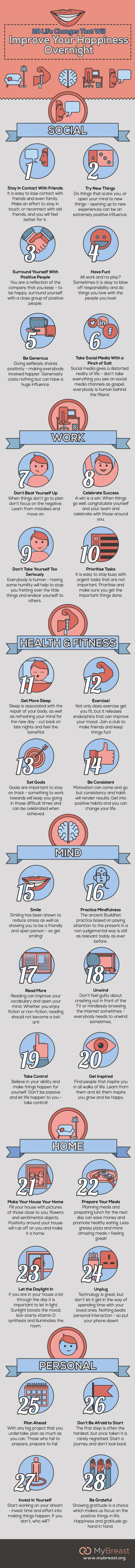 28 Life Changes That Will Improve Your Happiness Overnight Infographic