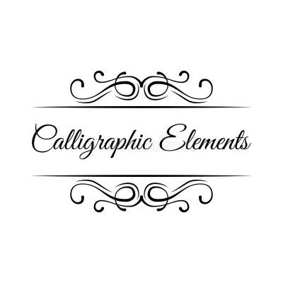 Calligraphic Elements. Vintage Frame Border Scroll Floral ...