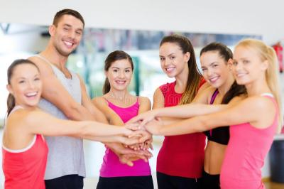 Group Of People In The Gym Celebrating Victory Stock ...