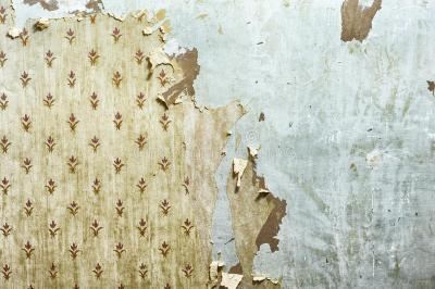Peeling Wallpaper On Drywall Stock Image - Image of indoors, plaster: 35112061